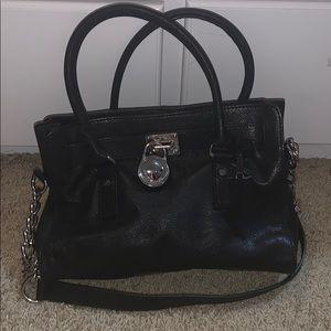 Michael Kors black leather handbag purse